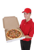 Uomo di consegna della pizza Fotografia Stock Libera da Diritti