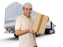 Uomo di consegna e camion di rimorchio Immagine Stock