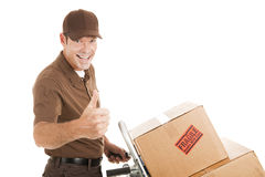 Uomo di consegna - pollici in su Fotografie Stock