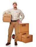 Uomo di consegna su bianco Fotografia Stock