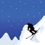 Uomo di corsa con gli sci nell'illustrazione di vettore di inverno royalty illustrazione gratis
