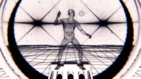 uomo di 3D BW Wireframe nel fondo di moto del ciclo del Cyberspace VJ illustrazione vettoriale