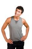 Uomo di forma fisica che osserva in su fotografia stock libera da diritti