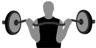 Uomo di ginnastica con il barbell Immagini Stock