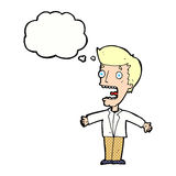 uomo di grido del fumetto con la bolla di pensiero Immagini Stock