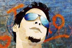 Uomo di Grunge con gli occhiali da sole Immagine Stock