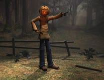 uomo di Halloween del carattere che indica zucca Fotografia Stock