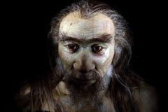 Uomo di homo sapiens isolato sul nero fotografia stock libera da diritti