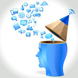 Uomo di idea - Internet e media sociali Fotografia Stock