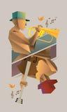 Uomo di jazz di origami Fotografia Stock