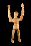 Uomo di legno con le braccia alzate fotografia stock libera da diritti