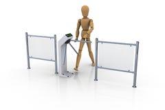 Uomo di legno davanti ad un cancello girevole bianco aperto Fotografia Stock Libera da Diritti