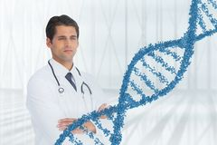 Uomo di medico che sta con il filo del DNA 3D Fotografia Stock
