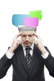 Uomo di mentalità aperta con le bolle di discorso all'interno Fotografie Stock