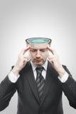 Uomo di mentalità aperta con la piscina all'interno Fotografie Stock
