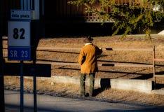Uomo di montagna con un cappello da cowboy immagini stock libere da diritti