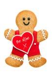 Uomo di pan di zenzero del biglietto di S. Valentino Fotografie Stock