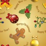 Uomo di pan di zenzero del modello del nuovo anno, vischio, ghirlanda e palla di Natale Fotografie Stock