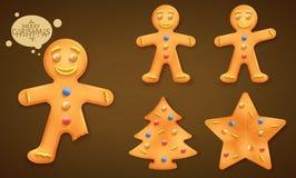 uomo di pan di zenzero di 3D Brown, albero di Natale e biscotti sorridenti della stella messi Fotografie Stock Libere da Diritti