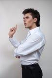 Uomo di pensiero serio con l'idea Fotografie Stock