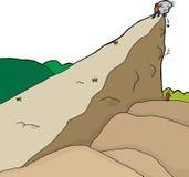 Uomo di Person Pushing Boulder On Unaware Fotografia Stock