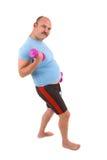Uomo di peso eccessivo che fa le esercitazioni Fotografia Stock Libera da Diritti