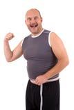 Uomo di peso eccessivo felice Fotografia Stock Libera da Diritti