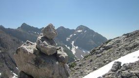 Uomo di pietra nelle alpi di Allgau vicino ad Oberstdorf, Germania Fotografia Stock