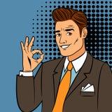 Uomo di Pop art che mostra segno giusto royalty illustrazione gratis