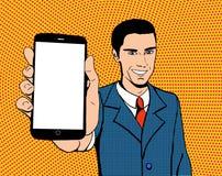 Uomo di Pop art con un telefono Fotografia Stock Libera da Diritti