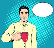 Uomo di Pop art con una tazza di tè Immagine Stock Libera da Diritti