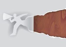 Uomo di promozione con la struttura di legno illustrazione vettoriale