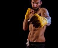 Uomo di pugilato pronto a combattere Pugilato, allenamento, muscolo, forza, po Fotografia Stock Libera da Diritti