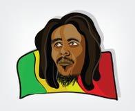 Uomo di Rasta. Illustrazione di un uomo rastafarian su una bandiera giamaicana Fotografie Stock Libere da Diritti