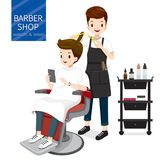 Uomo di rilassamento in Barber Shop illustrazione di stock