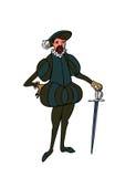 Uomo di rinascita con la spada Immagini Stock Libere da Diritti