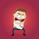 Uomo di risata diabolico in camicia di forza Immagini Stock Libere da Diritti