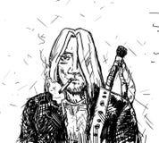 Uomo di rock-and-roll in rivestimento nero Fotografie Stock