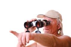 Uomo di safari che cerca qualcosa Fotografia Stock Libera da Diritti