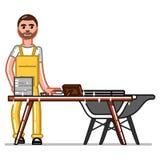 Uomo di servizio di pulizia illustrazione vettoriale