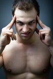 Uomo di sguardo spaventoso diabolico Fotografia Stock Libera da Diritti