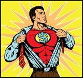 Uomo di Supemoney che cambia per l'azione Immagini Stock Libere da Diritti