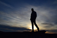 Uomo di tramonto Fotografia Stock