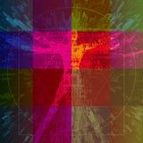 Uomo di Vitruvian con i codici binari sul fondo colorato dei quadrati fotografia stock libera da diritti