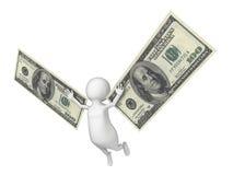Uomo di volo 3D con ali fatte dei contanti del dollaro Fotografia Stock Libera da Diritti