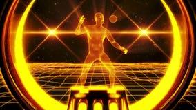 uomo di Wireframe dell'oro 3D nel fondo V2 di moto del ciclo del Cyberspace VJ illustrazione di stock