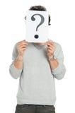 Uomo dietro la domanda Mark Sign Fotografia Stock Libera da Diritti