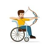 Uomo disabile in sedia a rotelle che piega l'arco di s Progettazione piana Fotografie Stock