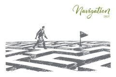 Uomo disegnato a mano che cammina sul labirinto alla bandiera di navigazione Fotografia Stock Libera da Diritti