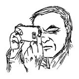 Uomo disegnato a mano di vettore dell'illustrazione che prende una foto con il cellulare pH Fotografia Stock Libera da Diritti
